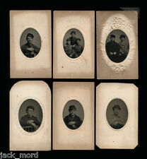 (6) 1860s Tintype Photos Rowdy Handsome Cigar Smoking Men Maybe Police - Gay Int