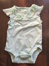 Size newborn mint green FLORAL EMBELLISHED COLLAR body suit by KOALA BABY