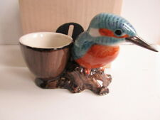 KINGFISHER WITH EGG CUP BY QUAIL POTTERY NEW AND BOXED,GREAT GIFT IDEA
