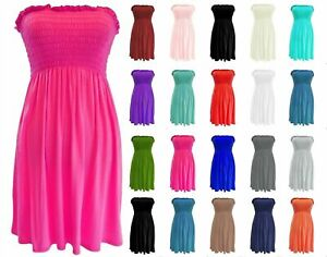 Women,s Ladies Plus Size Sheering Boobtube Bandeau Strapless Top Vest Dress 8-22