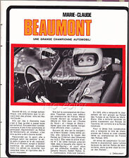 1971 DOCUMENT (ref JF 15) PILOTE AUTO Marie-claude BEAUMONT POSTER + 1page