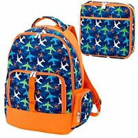 Take Flight Airplanes Blue Orange 2 Piece Polyester Backpack & Lunch Box Set