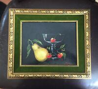 "Piatelli Original ""Cherries, Pears And Glass"" Acrylic On Board Painting"