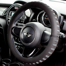 GREY & BLACK COMFY FOAM CAR STEERING WHEEL COVER/GLOVE - UNIVERSAL PADDED DESIGN