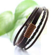 Genuine Leather Bracelet Men's Unisex Wrap Tribal Brown Adjustable 7-9 In H104