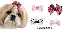 4 pc PREMIUM POLKA DOT Olivia GROSGRAIN RIBBON BOWS w/Band DOG Grooming Top Knot