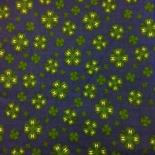 "Vtg 4-H Blue Green Clover Fabric ~ 5-6 Fat Quarters (46""W x 58""L) Cotton Quilter"