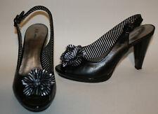 Anne Klein Black Patent Leather Slingbacks Shoes 8 White Stripe Flower LN