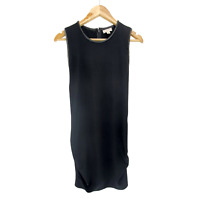 Witchery Black Straight Dress Size 14 Lamb leather Collar Party