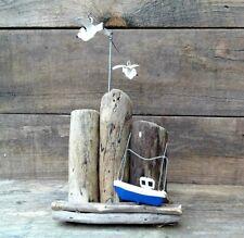 Barco en madera a la deriva con cinética gaviotas de Pie Náutica Marítimo Decoración