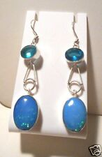 Silver  dangle earrings with blue Topaz and blue man made Opals