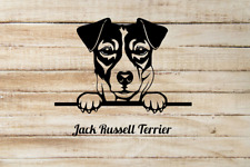 Jack Russell Terrier Peeking out window Vinyl Decal Sticker can be customized