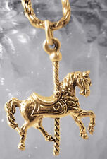 LOOK CAROUSEL Merry Go Round Circus Royal Horse Gold plated over real Silver cha