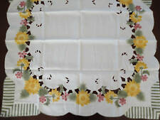 Embroidered Cutwork Ivory/Green Tablecloth Table Topper