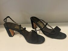 Vintage 1950's/60's Black Chunky High Heel Strappy Sandals