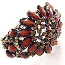 Brazalete Floral Statement brazalete ancho Flores Marrón Ornamento Bollywood