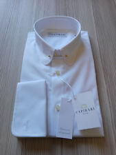 CAPIRARI stile Kiton Truzzi man shirt pin collar Italy Thomas Mason Cotton M