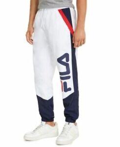 NWT FILA 3 COLOR WHITE WOVEN PONGEE POLYESTER GUSTAVO RETRO TRACK PANTS