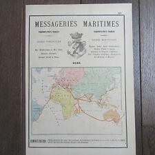 PUBLICITE ANCIENNE 1898 MESSAGERIES MARITIMES PAQUEBOTS POSTE FRANÇAIS