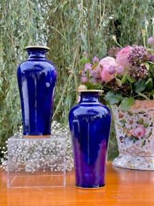 Sevres Splendid Pair Vases Antique 1888 Cobalt blue and gildings