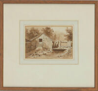 Original Framed 1834 Watercolour - The Chicken Shed
