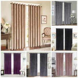 LUXURY CRUSHED VELVET WINDOW CURTAINS READY MADE LINED EYELET RING TOP