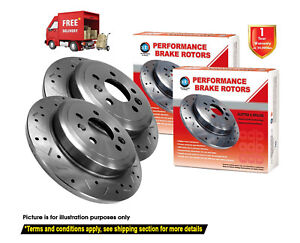 For LEXUS RX350 GSU35 288mm 2006-2009 REAR Slotted Drilled Disc Brake Rotors (2)