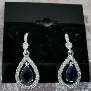 Carolee Sapphire Pave Teardrop Earrings