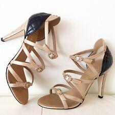 NIB Chanel 17C Beige Black Patent CC Strappy Buckle Sandal Heel Pump 39 $1000