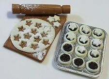 dolls house food, making mince pies set, 12th scale, handmade, artisan