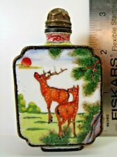 Antique Chinese Enamel On Copper Snuff Bottle: Spotted Deer, Gorgeous!!