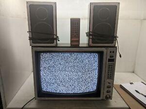 """Vintage 1981 Wood Grain Zenith System 3 19"""" Space Command Color CRT TV"""