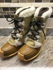 SOREL Nanook Women's Insulated Winter Waterproof Boots Tan Wool Inserts US Sz 9