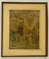Dipinto ad olio su tavola Paesaggio con figure con cornice 40 x 33 cm (G60) Come