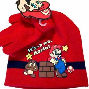Boys Kids Children Red Super Mario Hat and Gloves Set age 3 - 9 years 52-54 cm