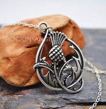 925 Antique Silver Plt Thistle Pendant Necklace, ladies Gift Outlander Scottish