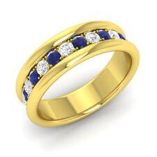 0.60 Cts Natural Sapphire & Diamond Mens Wedding Engagement Ring 14k Yellow Gold