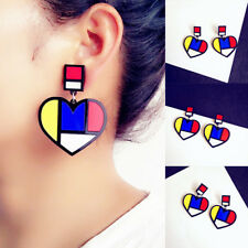 Lady Girl Fashion Jewellery Boho Style Acrylic Heart Dangle Drop Stud Earrings