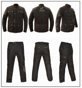 Moto Ce Armure Coton Ciré Motard Doublé Ceinture Manteau Veste Pantalon