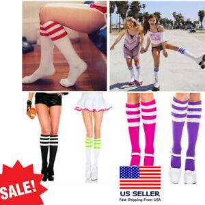 Opaque Athletic Striped Top Knee High Tube Socks School Girl Knitted Stocking US