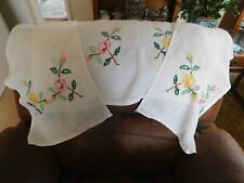 Vintage set 3 chair back covers hand embroidery decoration for settee & 2 chairs