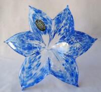 "8"" Italian Art Blown Glass Flower Murano Deep Blue Italy 322 Mother's Day Gift"