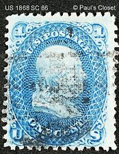 """US 1868 FRANKLIN 1¢ BLUE SC 86 UNG """"E"""" GRILL HAND STAMP CANX F/VF"""