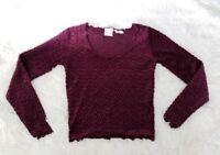 Moda International Women's Small Long Sleeve Crop Top Maroon/Dark Red