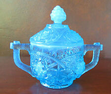 U.S. Glass EAPG Palm Beach Blue Opalescent Covered Sugar Bowl c. 1906