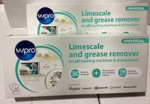 WPRO Hotpoint Limescale & Grease Remover, 2 x Boxes of 12 Sachets