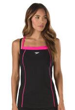 SPEEDO Women's Black Dark Pink Double Straped Endourance Tankini Top Size 8 NWTS