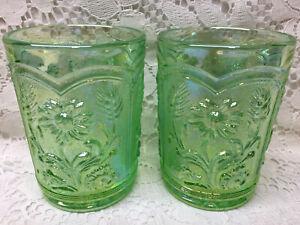 Green carnival glass wildflower pattern tumbler cup set lot iridescent sunflower