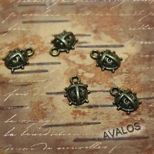 10 kleine Marienkäfer Anhänger, bronze, Schmuck Basteln, DIY, Charms vintage