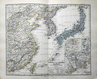 Japan Korea Eastern China Asia Taiwan 1884 Stieler detailed map
